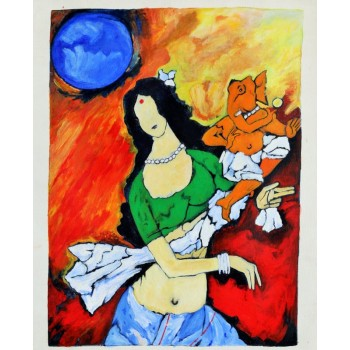 Maa Parvati with Lord Ganesha (art - oil painting)