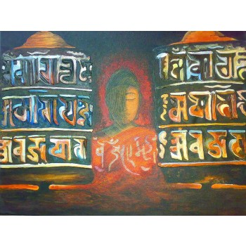Buddha and the Prayer Wheels (art - oil painting)