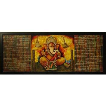 Shri Ganeshay Namah (art - mix media painting)
