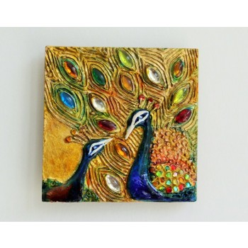 Peacock's Love (A set of 3 tiles, hand-painted using mixed mediums)