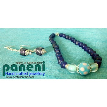 Frosted, Purple Glass Bead Necklace with Ear Rings