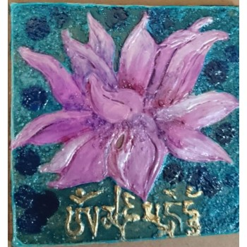 Lotus and Golden Fish  (Set of 3 tiles, hand-painted using mixed mediums)