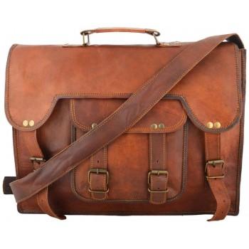 Handmade goat leather unisex laptop bag/side bag