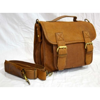 Vintage leather messenger bag briefcase executive style