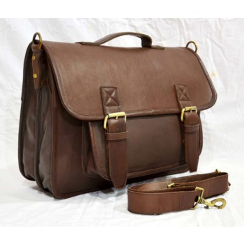 Vintage real leather handmade executive style messenger  bag unisex.