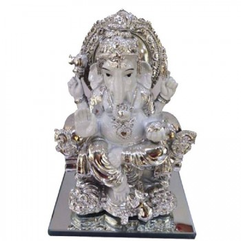 Ceramic Ganesha with silver finish plating