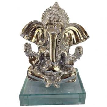 Silver finish Ganesha on glass base