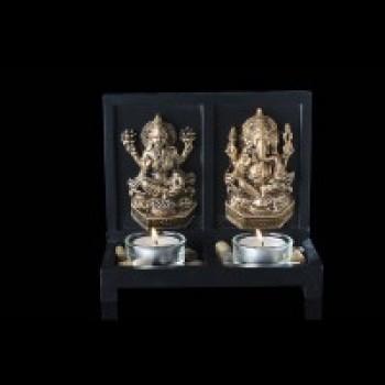 Lakshmi & Ganesha on a all wooden base with 2 glass tea lights
