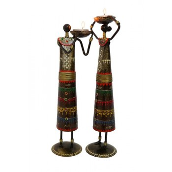 Pair of 12 Inches Tall Masai Figurines Tea Light Holders