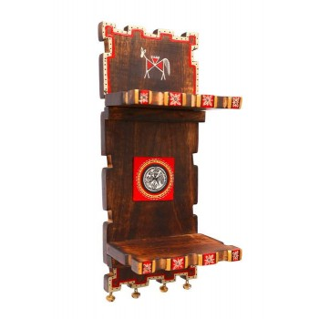 15 Inch Wall Decor Wooden Stand With Two Flaps And Ghungroos at Base