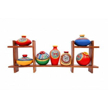 Wooden Stand with Seven Elegant Terracota Handpainted Pots