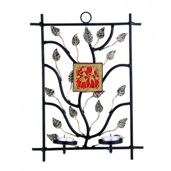 Rectangular Wrought Iron Candle Sconce