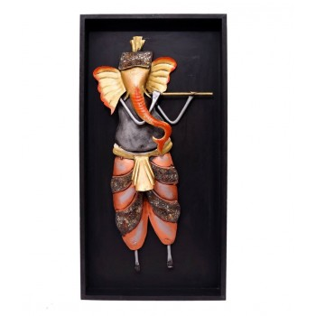 Standing Ganesha Playing Bansuri ( In Frame 24 Inch Tall)