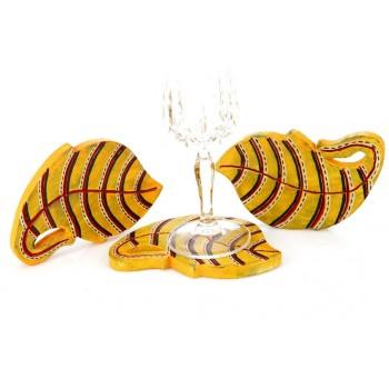 Indikala Yellow Leaf Shaped  coasters set 3 of