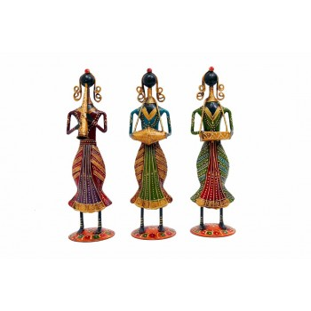 Indikala Set of Three Multicoloured Women Musicians ( 11 Inches tall)