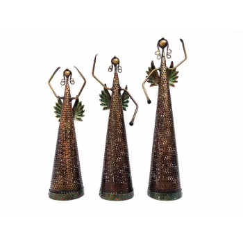 Indikala Set of Three Good Luck Fairies Tea Light Holder ( 17 Inch , 15 Inch and 14 Inch Tall)