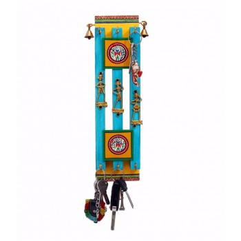 Indikala Dhokra and Warli Work Multicoloured Ethnic Key Ring Holder