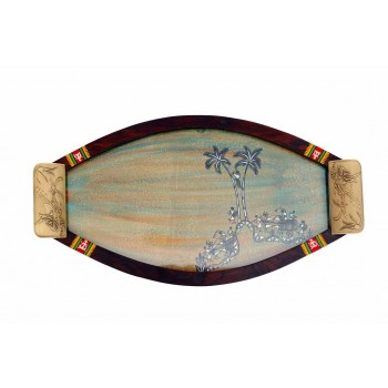 Indikala Oval Shaped Multicoloured Warli Tray With Glass Top and Dhokra Handles