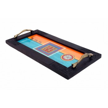 Indikala Rainbow Colours Dhokra Work Tray with Glass Top and Fish Handles