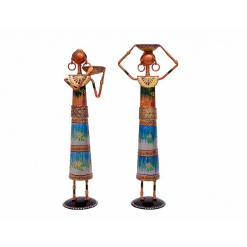 Indikala Pair of 12 Inches Tall Multicoloured Masai Figurine Tea Light Holders