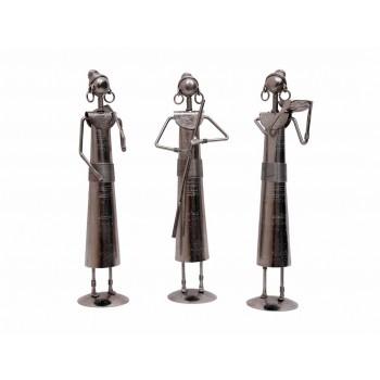 Indikala 12 Inch Tall Silver Masai Women : Set of 3
