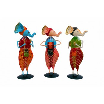 Indikala 12 Inches Tall Hancrafted Ganesh Musicians : Set of 3