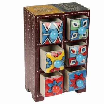 Handcrafted Wooden and Ceramic 6 Vertical Drawer Set