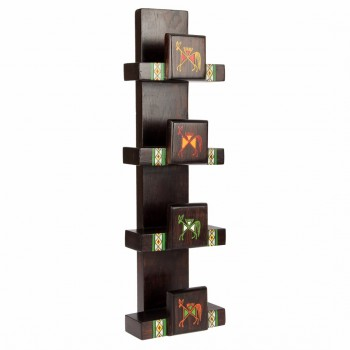 Ethnic Wooden Hand Towel Holder (18 Inches Tall)
