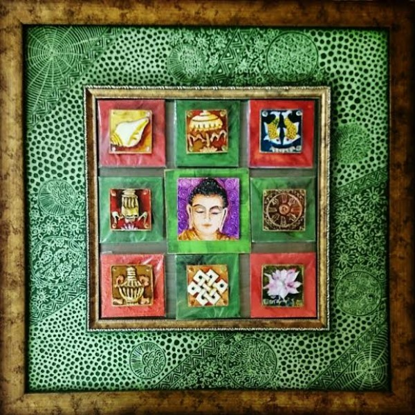 The Eight Auspicious Symbols With Buddha Art Painting With