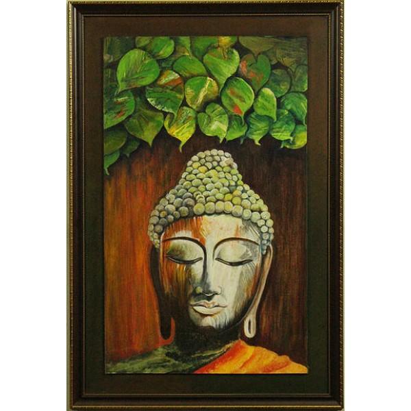 Buddha attaining enlightenment art acrylic painting for Buddha mural paintings