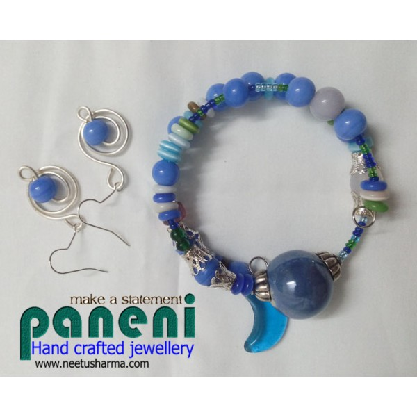 Wire Wrapped Glass Blue Ear Rings with Bracelet-Glass and Ceramic ...