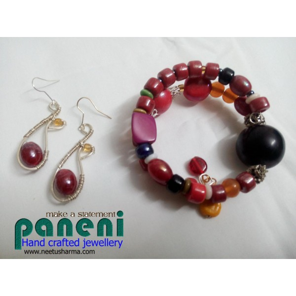 Wire Wrapped Glass Red Ear Rings with Bracelet-Glass and Ceramic ...