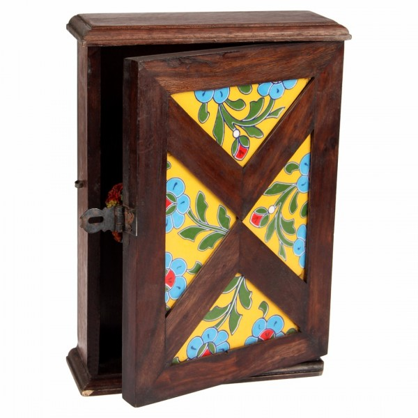 Wooden Key Holder Cabinet With 9 Hooks