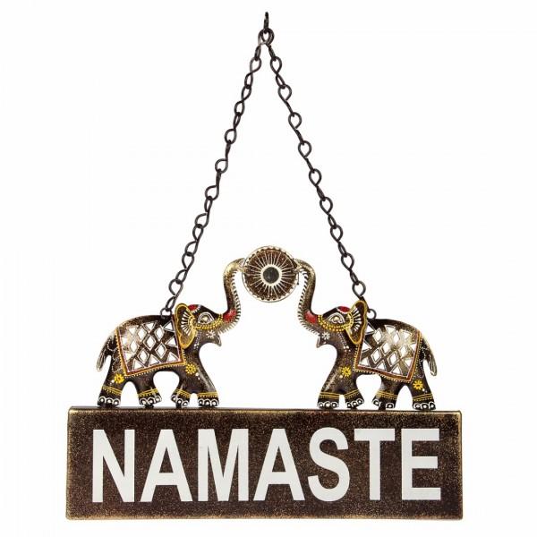 Ethnic Twin Elephant Namaste Sign Wall Décor - Olivetrolley