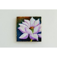 Blooming Lotus (art - mixed media painting on magnetic tiles) - set of 3 Tiles