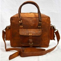 Vintage leather messenger/satchel bag -brown