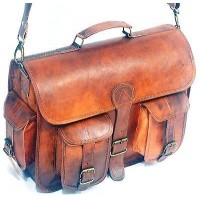 Genuine leather handmade briefcase bag