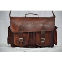 Vintage brown leather handmade laptop/ satchel bag/ camera bag
