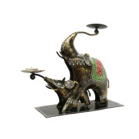 Two Elephants Tea Light Holder