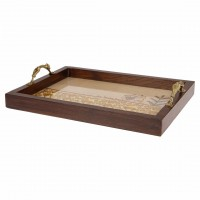 WOODEN TEAK WOOD TRAY WITH LADY DESIGN HANDLE