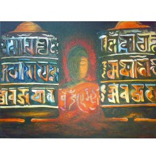 Buddha and the Prayer Wheels (art - oil painting)