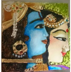 Krishna's lover Radha (Set of 3 tiles hand-painted in mixed media)