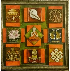Ashtamangala and Buddha (art - painting with movable magnetic tiles)