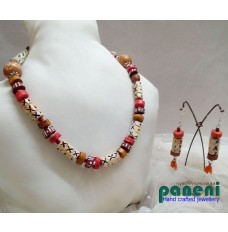 TERRACOTTA, SINGLE STRING ,ETHNIC NECKLACE SET