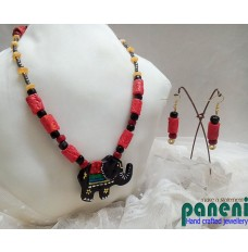 Terracotta Set, Black Elephant Pendant