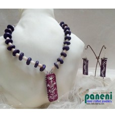 Terracotta Set, Purple, Oblong Pendant