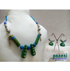 TERRACOTTA SET,  TWIN GREEN ETHNIC NECKLACE