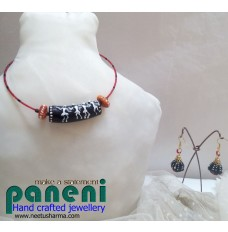 Terracotta, Black Warli Choker Set