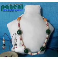 Bone and Horn Beads with Green and Amber Resin Beads
