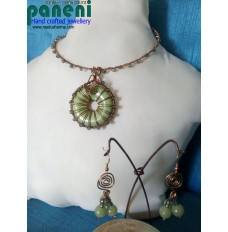 Wire Wrapped, Green Donut Bead Pendant Set